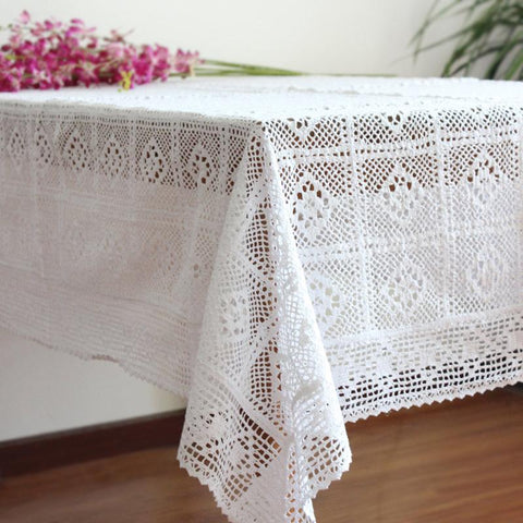 Dining - Lace Woven Rectangle Table Cover,100% Cotton  - 2 Sizes In White Or Ecru
