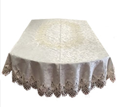 Dining - Luxury Lace And Jacquard Oval Tablecloth - 2 Sizes Available