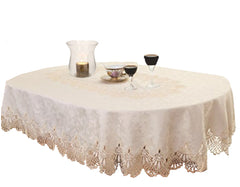 Luxury Lace and Jacquard Oval Tablecloth - 2 Sizes Available