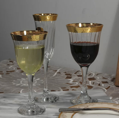 Dinnerware - Gold-Rimmed 9 Oz. Red Wine Goblet - Set Of 6
