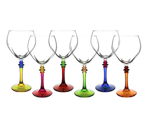 Dinnerware - Multi-Color Stem Wine Glasses, Set Of 6