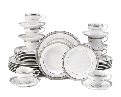 Fine China - Mikasa Platinum Crown Embossed Porcelain 40-Piece China Set