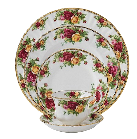 Fine China - Old Country Roses Vintage Floral Bone China 5-Piece Place Setting By Royal Albert