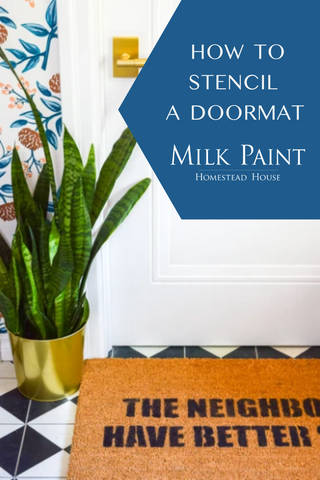 How to stencil Ikea doormat - Homestead House Milk Paint