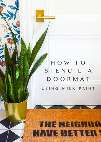 Using a stencil and Milk Paint, put your cheeky stamp on front door decor.