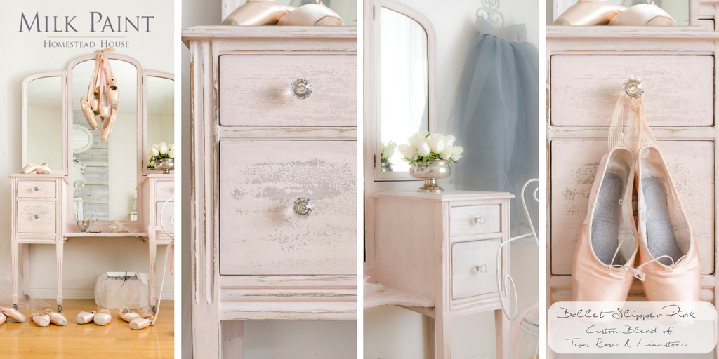Milk Paint By Homestead House Ballet Slipper Pink, a mix of Texas Rose and Limestone painted on a vanity.  | homesteadhouse.ca