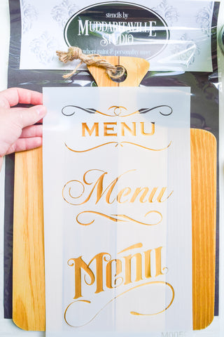 What's for dinner? Let everyone know with a stencilled menu board, made using Homestead House Milk Paint. Dinner ideas sold separately.