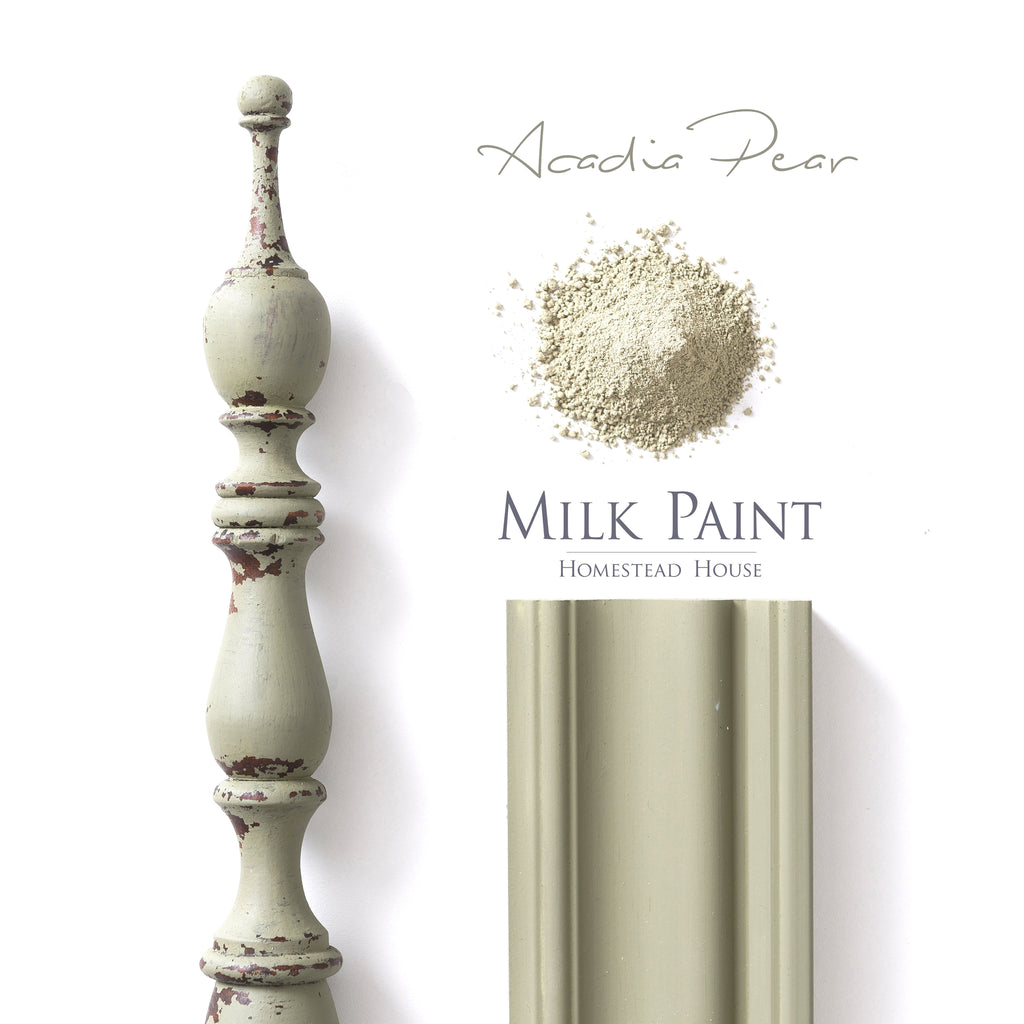 Milk Paint from Homestead House in Acadia Pear, a A warm soft sage muted green with a hint of gray.  |  homesteadhouse.ca