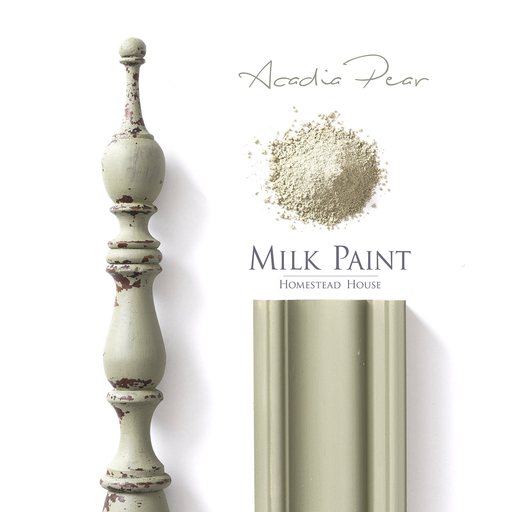 Acadia Pear Milk Paint from Homestead House in Powder Form and as finished colour.   |  homesteadhouse.ca