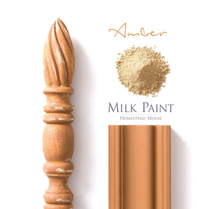 Milk Paint from Homestead House in Amber, A dark honey yellow with a shade of burnt orange. | homesteadhouse.ca