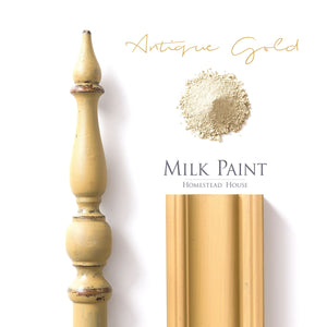 Milk Paint from Homestead House in Antique Gold, A deep muted yellow with a  hint of green-grey.  |  homesteadhouse.ca