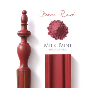 Milk Paint from Homestead House in Barn Red, a rustic red.  |  homesteadhouse.ca