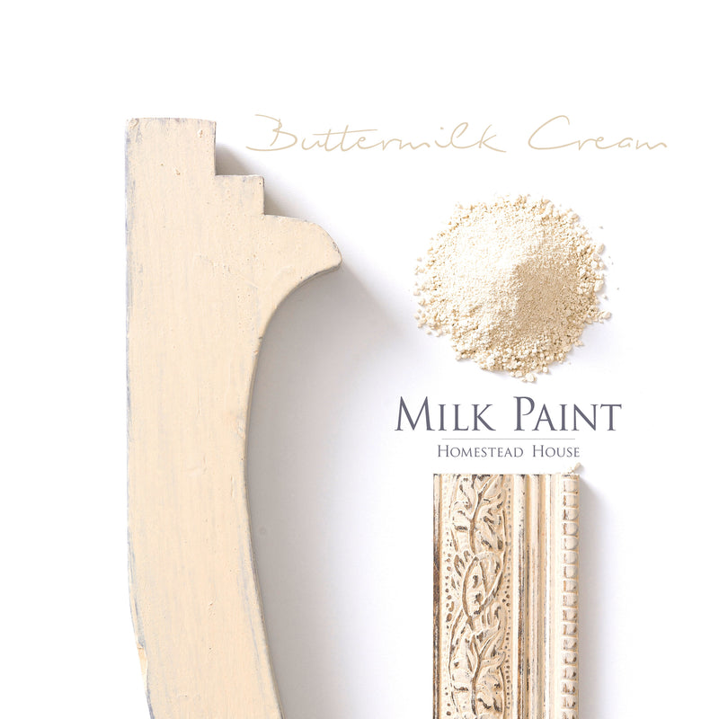 Milk Paint from Homestead House in Buttermilk Cream, A soft traditional warm yellow. | homesteadhouse.ca
