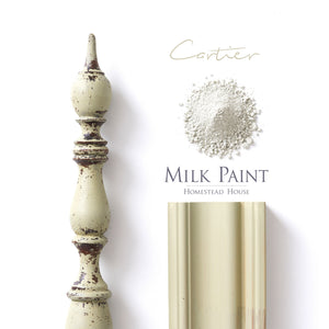 Milk Paint from Homestead House in Buttermilk Cartier, A light sage green with a slight hint of a muted mustard yellow.  |  homesteadhouse.ca