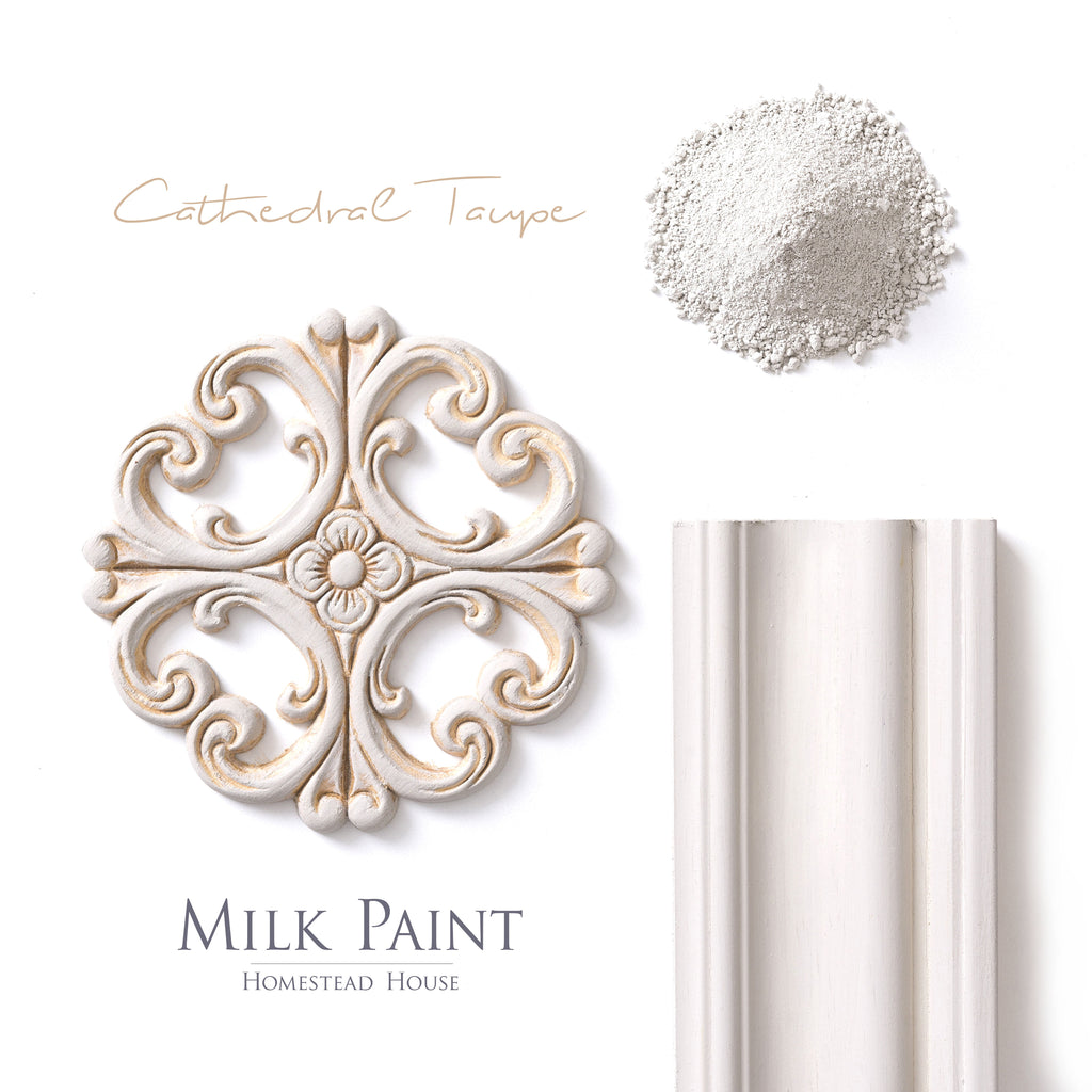 Milk Paint from Homestead House in Cathedral Taupe, a mid-tone neutral with a warm Taupe hue.  |  homesteadhouse.ca