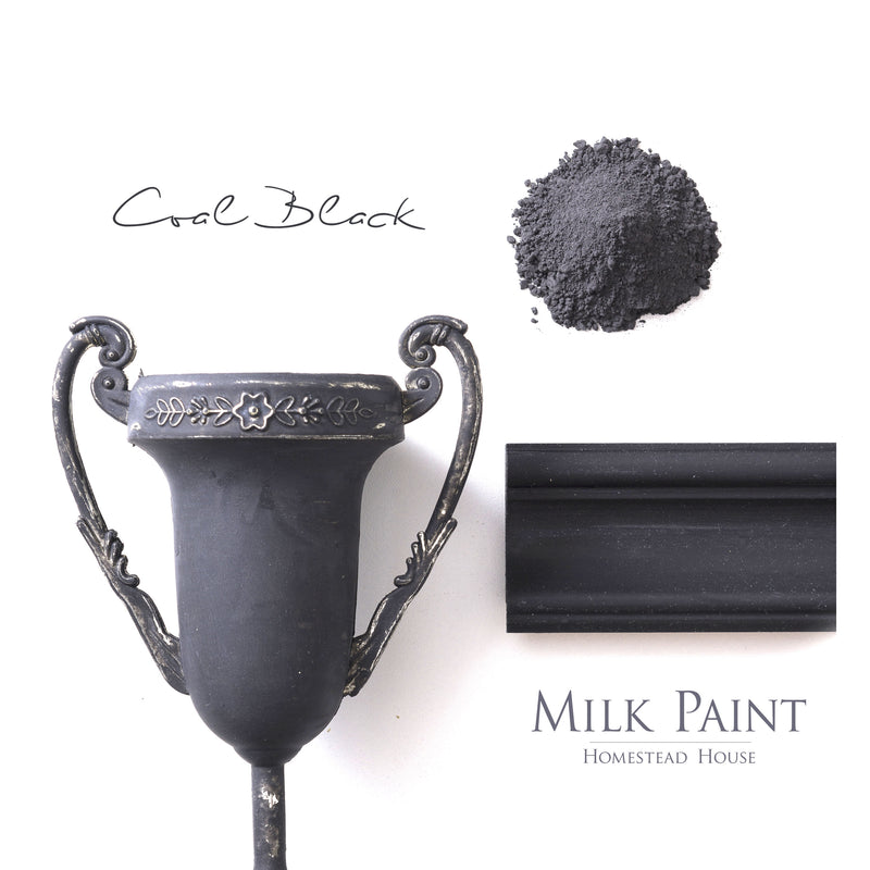 Milk Paint from Homestead House in Coal Black, a rich dark jet black.  |  homesteadhouse.ca