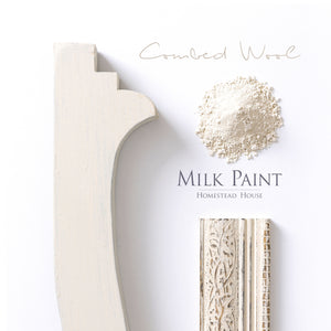 Milk Paint from Homestead House in Combed Wool, a muted aged yellow with a hint of soft green.  |  homesteadhouse.ca
