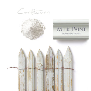 Milk Paint from Homestead House in Craftsman, a mid-tone green with a slight yellow ochre hue.  |  homesteadhouse.ca