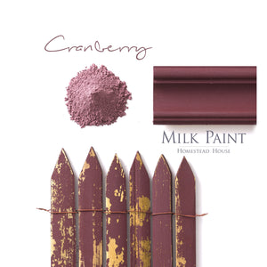 Milk Paint from Homestead House in Cranberry, A deep rich burgundy with a hint of black.  |  homesteadhouse.ca