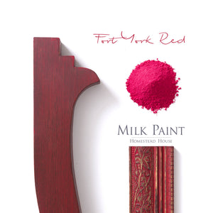 Milk Paint by Homestead House in Fort York Red -a bold yet cheerful bright red.   | homesteadhouse.ca