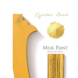 Milk Paint from Homestead House in Garden Seed, A warm yellow with a slight orange hue. | homesteadhouse.ca