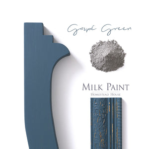 Milk Paint from Homestead House in Gaspe Green, a dark green with a blue tone and a hint of grey.  |  homesteadhouse.ca