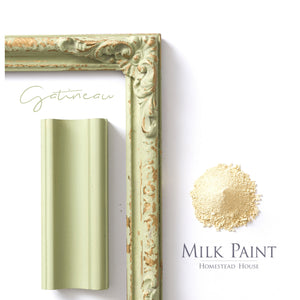Milk Paint from Homestead House in Gatineau, our muted chartreuse.  |  homesteadhouse.ca