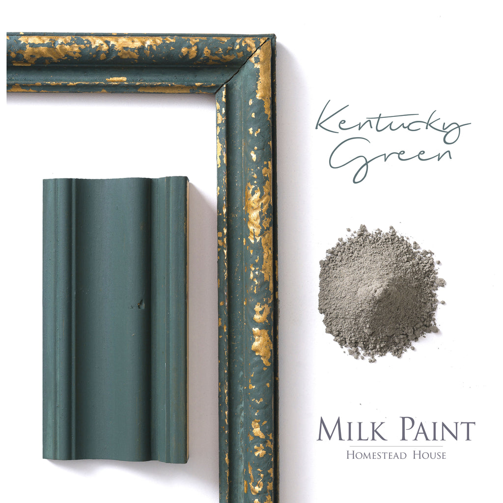 Milk Paint from Homestead House in Kentucky Green, A dark, rich green with a slight blue tone. | homesteadhouse.ca