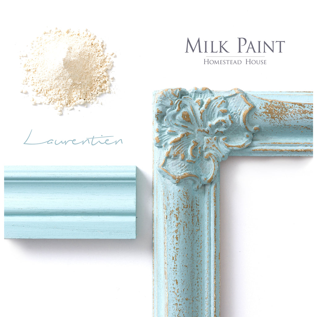 Milk Paint from Homestead House in Laurentien, A pale sea-glass blue. | homesteadhouse.ca