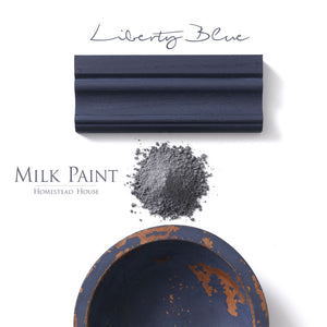 Milk Paint from Homestead House in Liberty Blue, A bold royal blue that is slightly muted.  |  homesteadhouse.ca