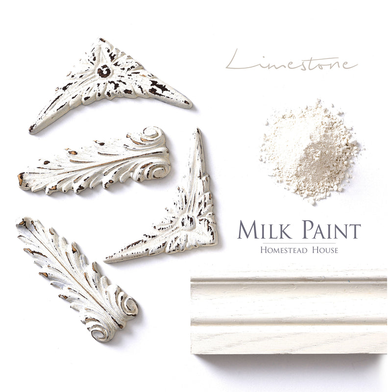 Milk Paint from Homestead House in Limestone, this old stone white has just a hint of earthy yellow.  |  homesteadhouse.ca
