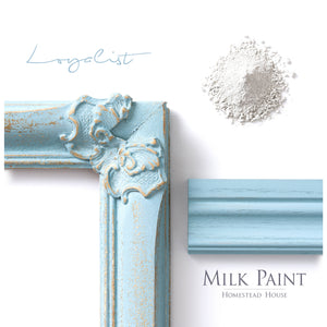 Milk Paint from Homestead House in Loyalist, Is a light muted green with a shading of blue. | homesteadhouse.ca