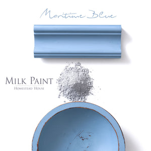 Milk Paint from Homestead House in Maritime Blue, a cheery bright blue with just a hint of lavender-grey.  |  homesteadhouse.ca