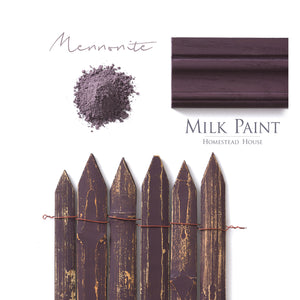 Milk Paint from Homestead House in Mennonite, a dark purple with a blackish red undertone.  |  homesteadhouse.ca