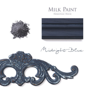 Milk Paint from Homestead House in Midnight Blue, This dark navy blue has a strong black undertone.  |  homesteadhouse.ca