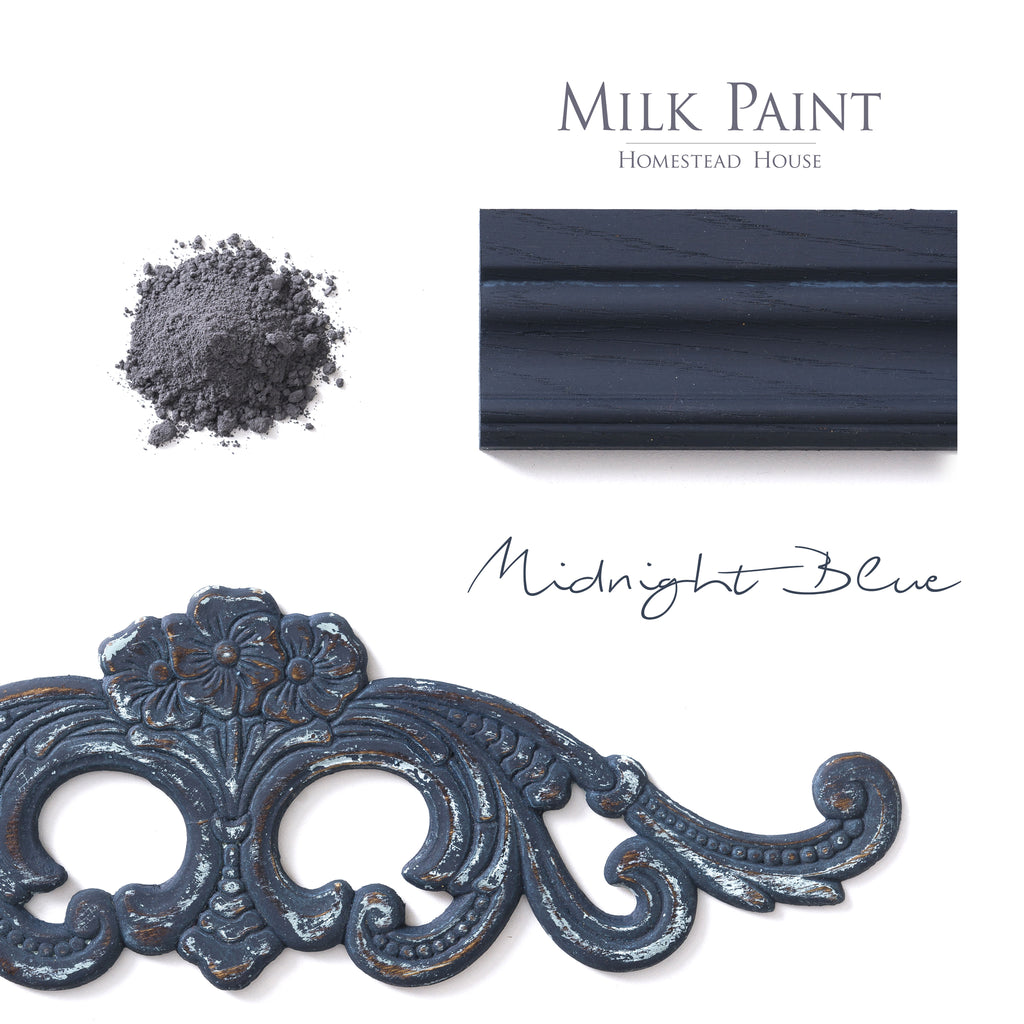 Milk Paint from Homestead House in Midnight Blue, This dark navy blue has a strong black undertone | homesteadhouse.ca