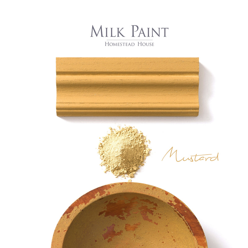 Milk Paint from Homestead House in Mustard, A traditional rich dark yellow with a muted orange hue. | homesteadhouse.ca