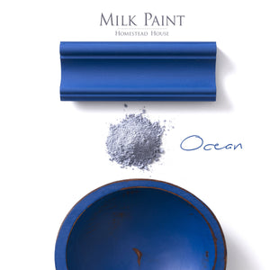 Milk Paint from Homestead House in Ocean, deep rich true blue.  |  homesteadhouse.ca