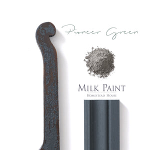Milk Paint from Homestead House in Pioneer Green, our deepest darkest green which has a black hue.  |  homesteadhouse.ca