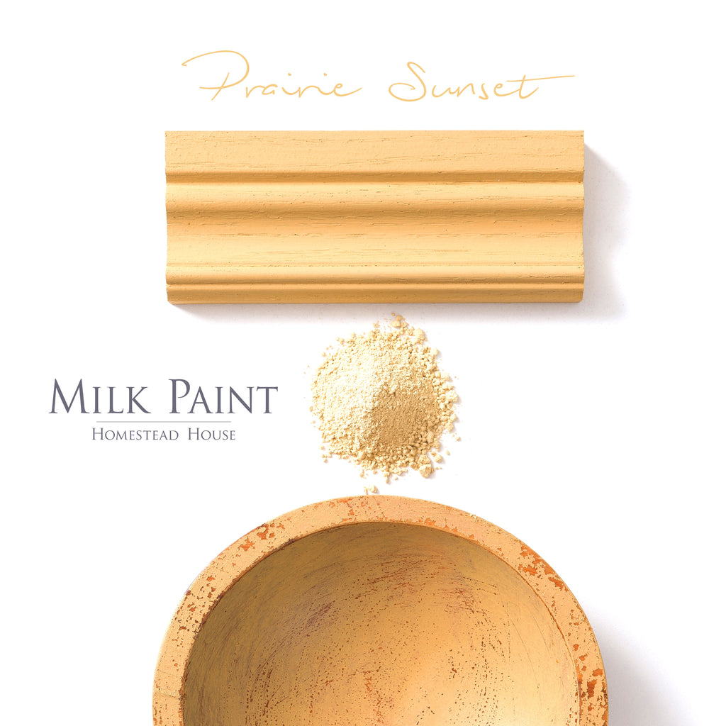Milk Paint from Homestead House in Prairie Sunset - an antiqued sunshine yellow. | homesteadhouse.ca