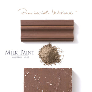 Milk Paint Stain by Homestead House in Provincial Walnut.  |  homesteadhouse.ca