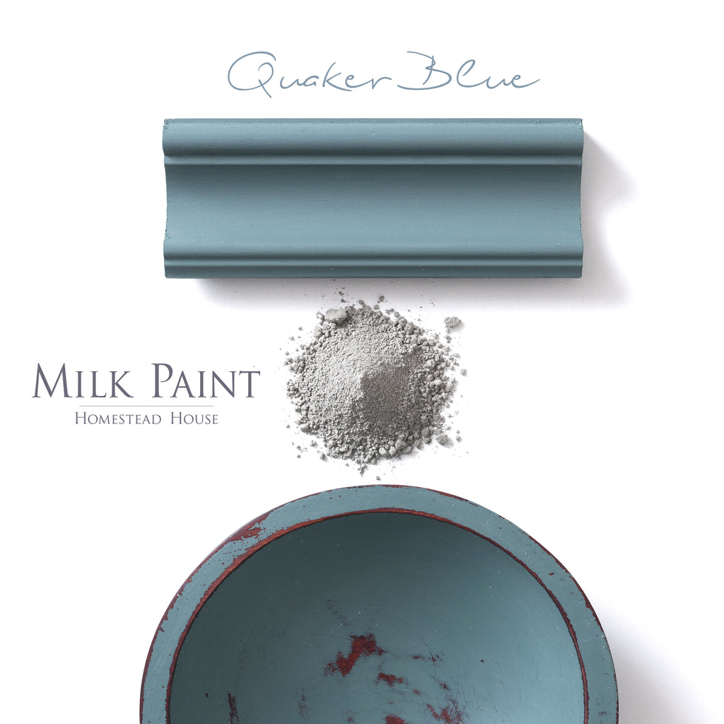 Milk Paint from Homestead House in Quaker Blue - A muted slate blue with a hint of greenish- grey . | homesteadhouse.ca