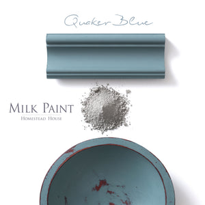 Milk Paint from Homestead House in Quaker Blue, A muted slate blue with a hint of greenish- grey.  |  homesteadhouse.ca