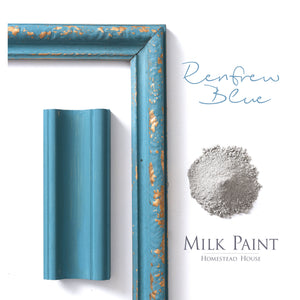 Milk Paint from Homestead House in Renfrew Blue, A muted dark turquoise blue.  |  homesteadhouse.ca