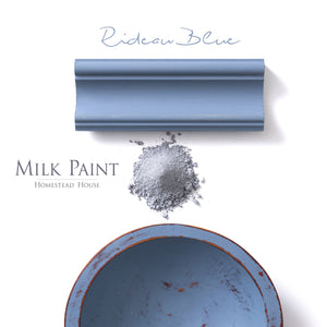 Milk Paint from Homestead House in Rideau Blue, a midtone blue with hint of warm grey.  |  homesteadhouse.ca