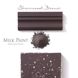 Milk Paint Stain by Homestead House in Sherwood Brown.  |  homesteadhouse.ca
