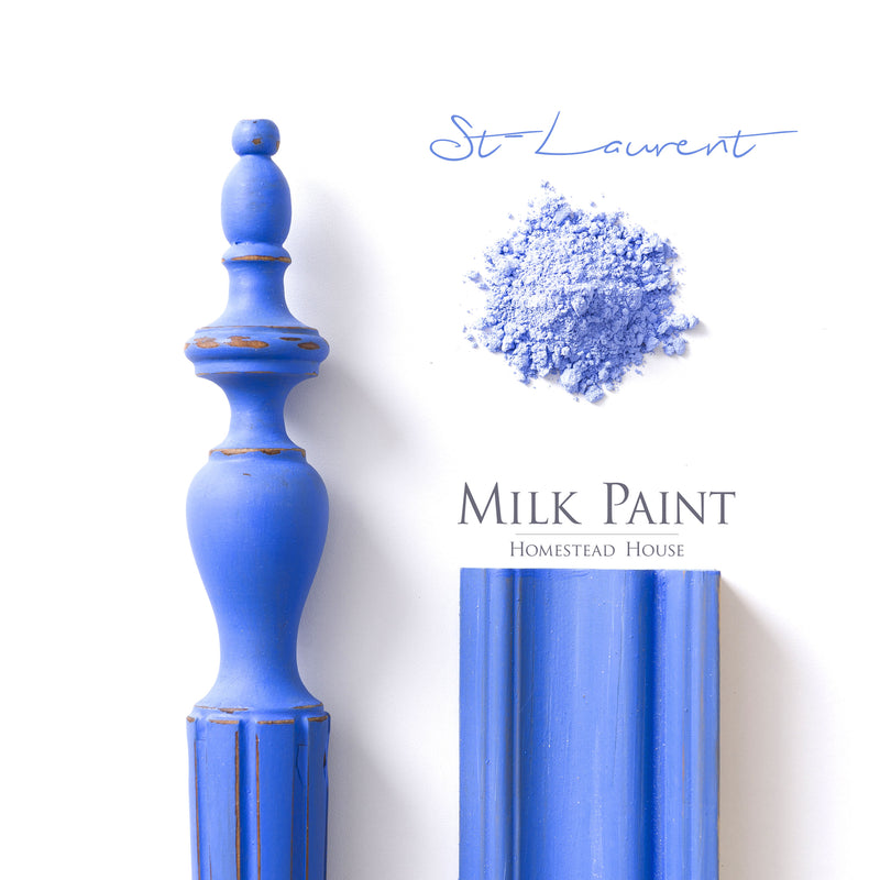 Milk Paint from Homestead House in St. Laurent, a midtone Blue with a hint of lavender.  |  homesteadhouse.ca
