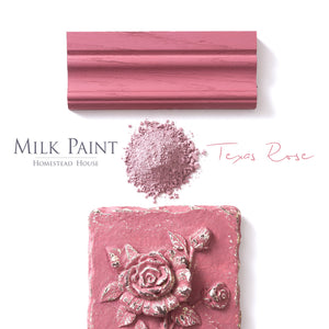 Milk Paint from Homestead House in Texas Rose, this deep pink has a slight purple undertone.  |  homesteadhouse.ca