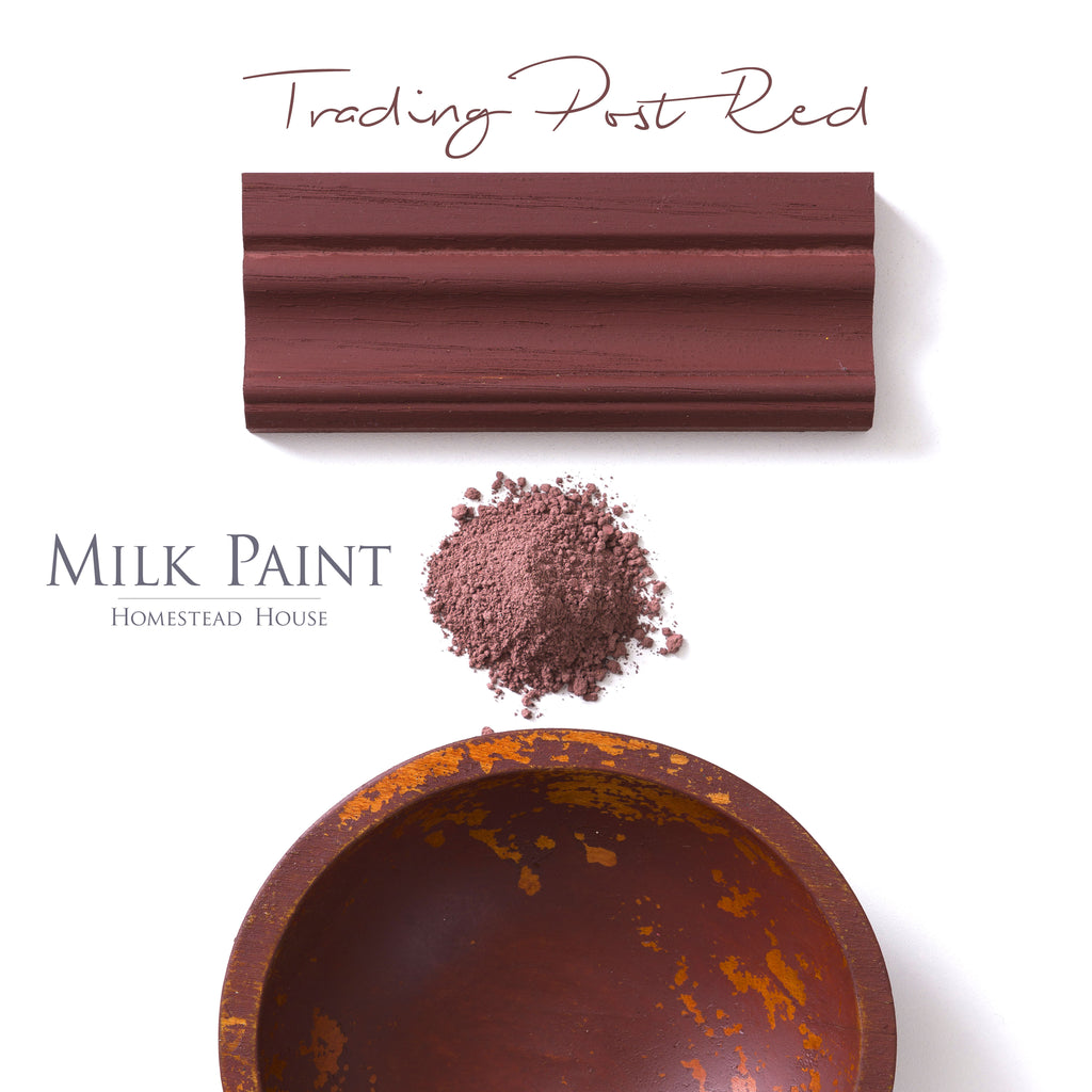 Milk Paint from Homestead House in Trading Post Red, A deep rich red with a brown undertone.  |  homesteadhouse.ca