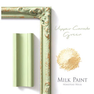 Milk Paint from Homestead House in Upper Canada Green, midtone , old apple green.  |  homesteadhouse.ca